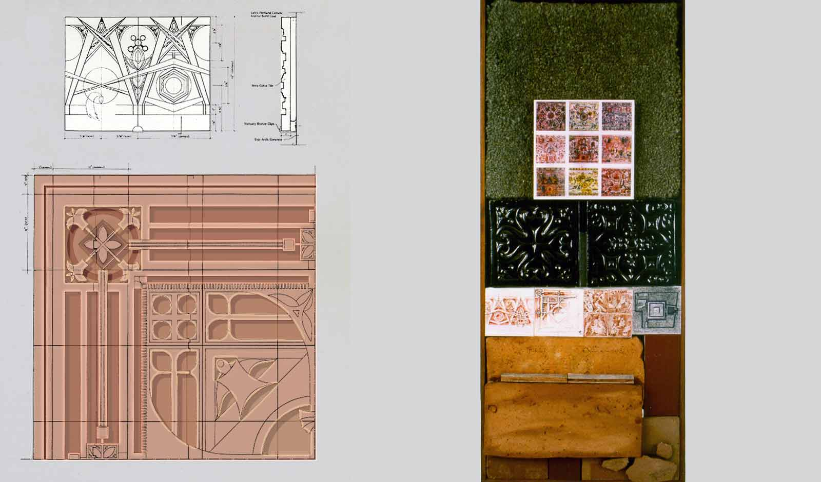 materials palette and custom artwork in terra cotta