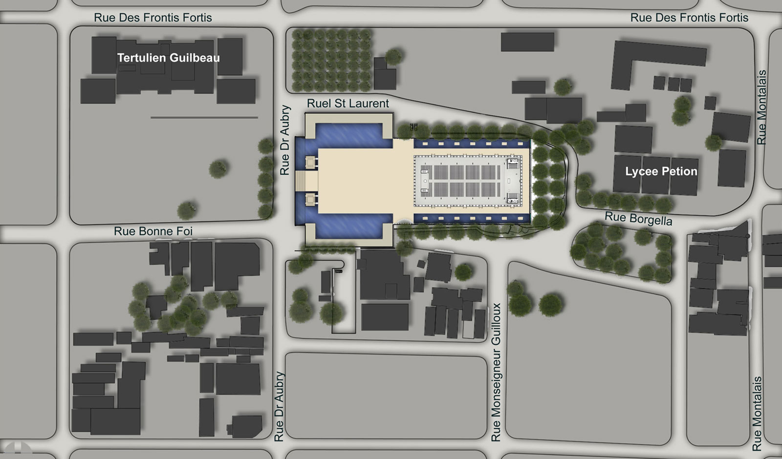 site design an including Cathedral Plaza, bell towers, community center and clergy offices and quarters