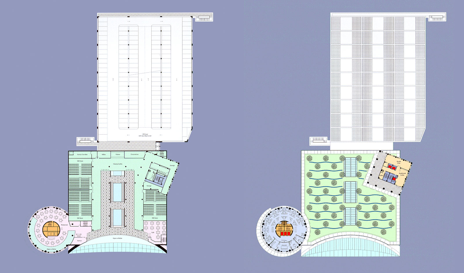 plan view at movie theater and green roof levels