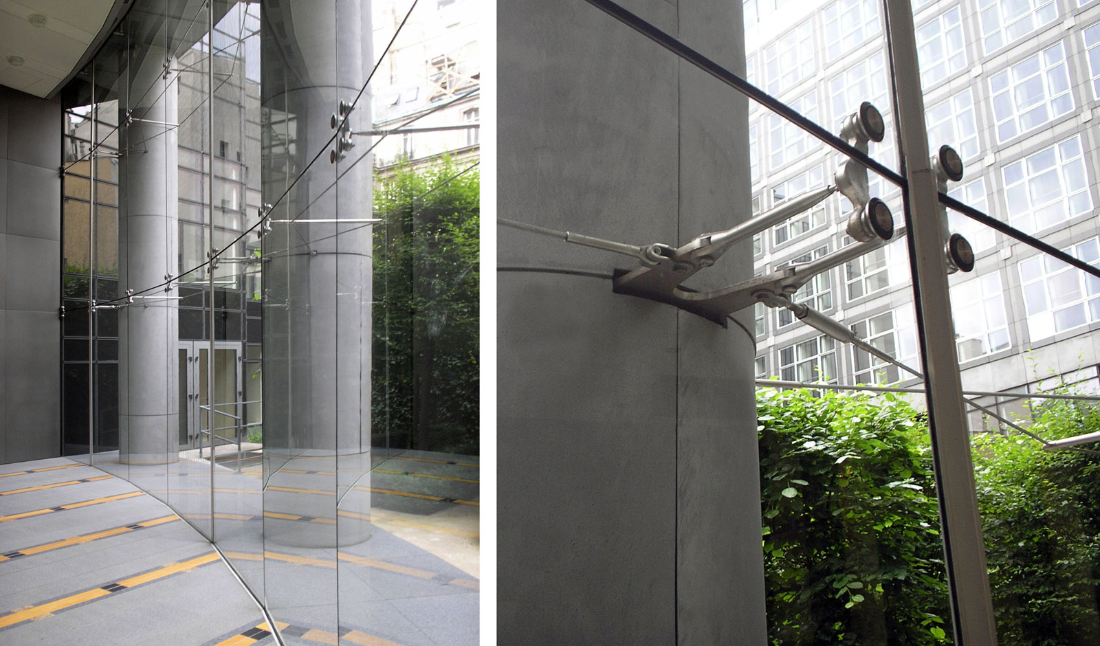 clear glass opens the atrium to a private garden