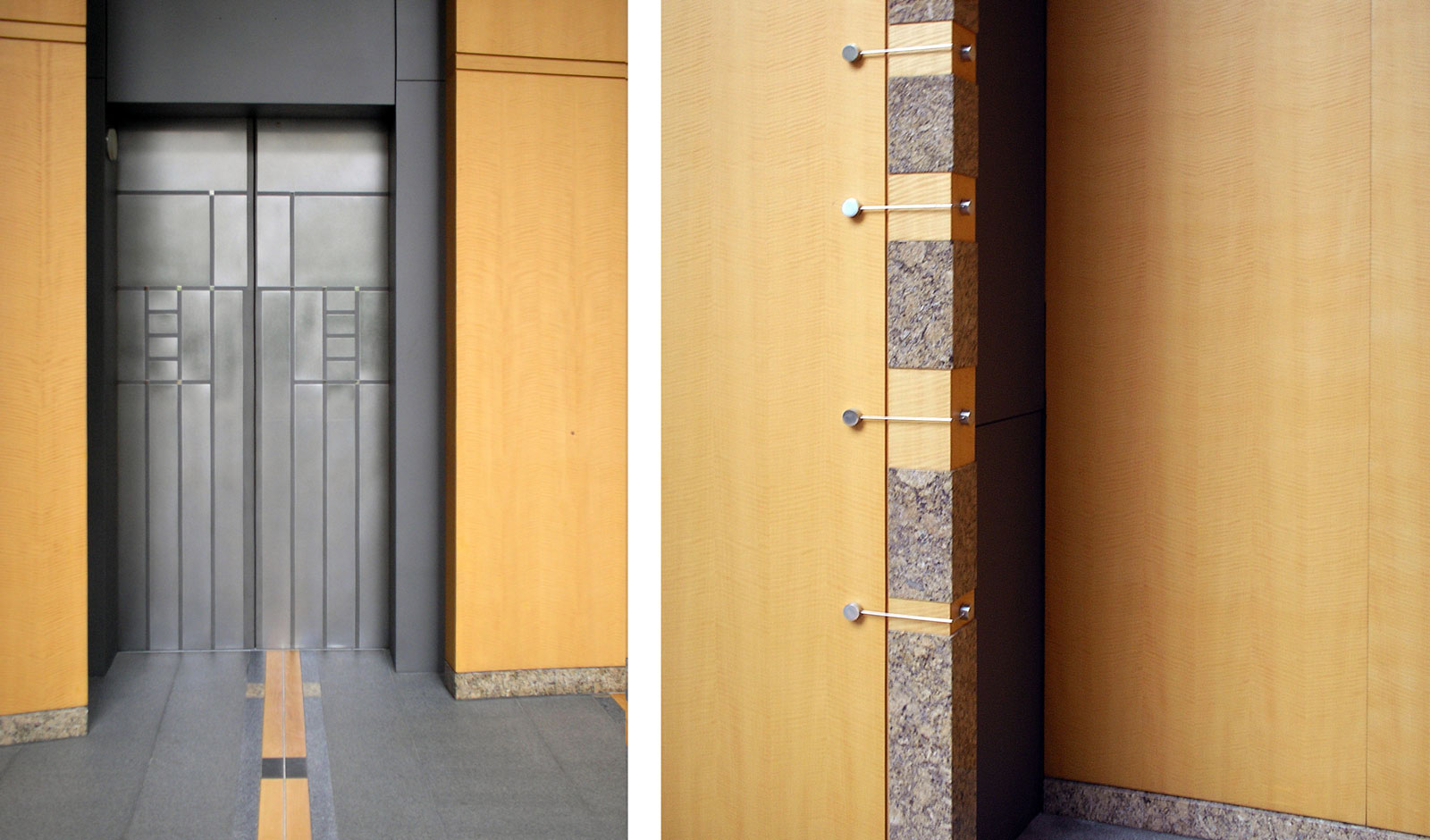 variety of interior finishes in stainless steel and wood