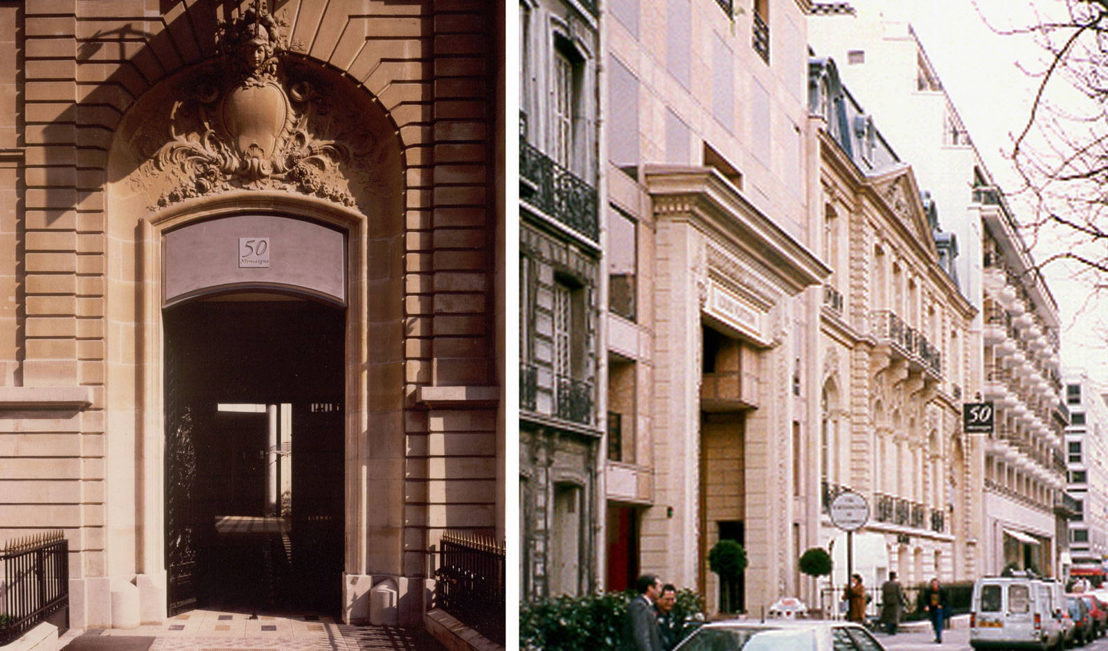 intimate entrance from a prominent Parisian Avenue