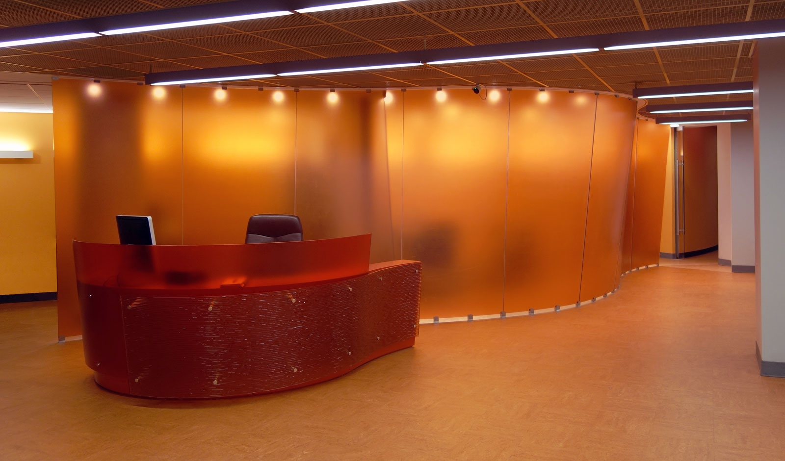 reception desk design and feature wall design